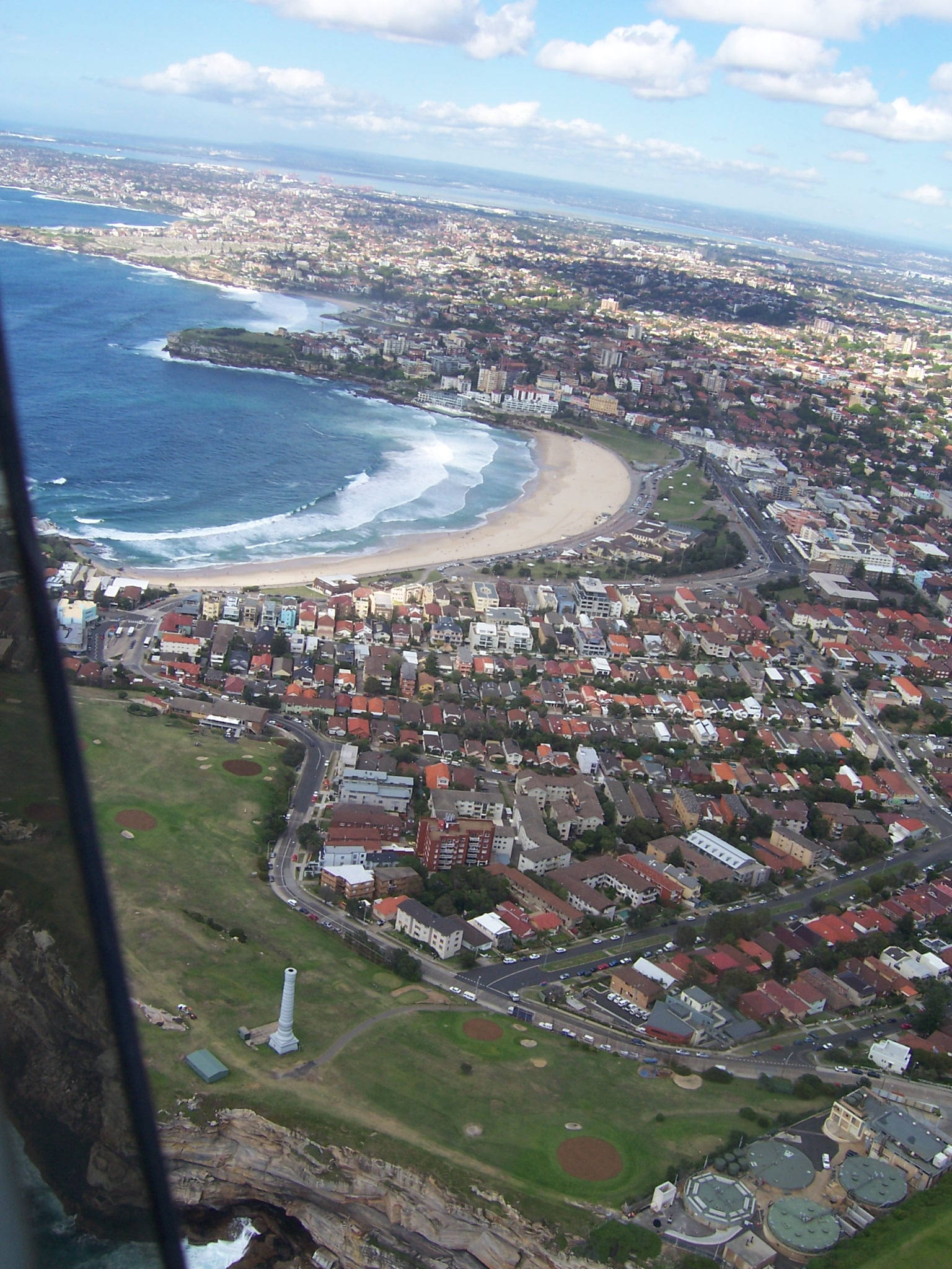 A great shot of a Sydney beach from a helicopter